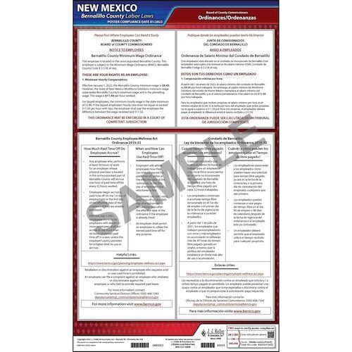 New Mexico / Bernalillo County Minimum Wage Poster (09430)