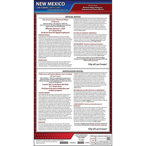 New Mexico / Las Cruces Minimum Wage Poster (012537)