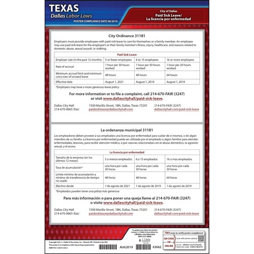 Texas / Dallas Paid Sick Leave Poster (015609)