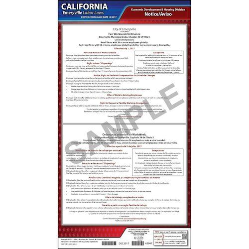 California / Emeryville Fair Workweek Ordinance Poster (013943)