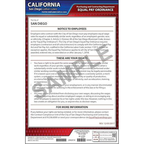 California / San Diego Equal Pay Ordinance Poster (013976)