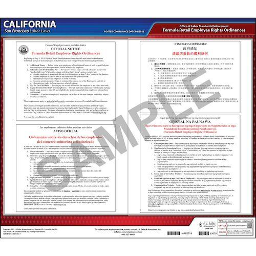 California / San Francisco Formula Retail Bill Of Rights Poster (012512)