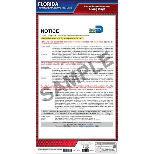 Florida / Miami-Dade County Living Wage Poster (012520)