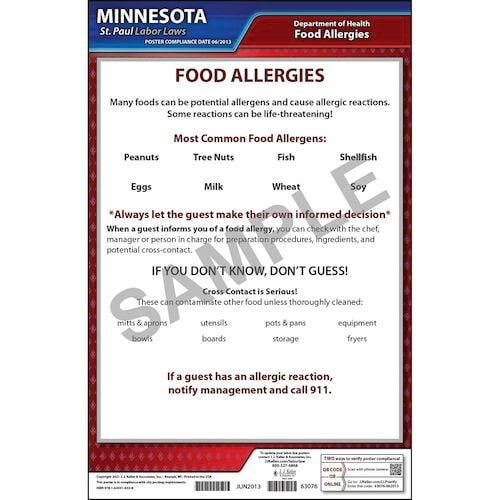 Minnesota / St. Paul Food Allergy In Restaurants Poster (012525)