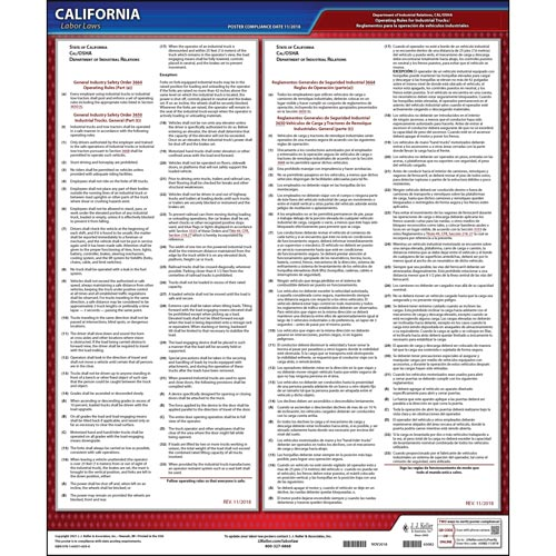 CAL/OSHA Operating Rules for Industrial Trucks (GISO 3650) Poster (04927)