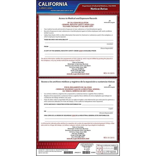 California Access to Employee Exposure and Medical Records Poster (04928)