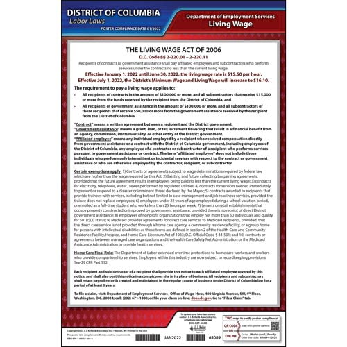District of Columbia Living Wage Ordinance Poster (04933)