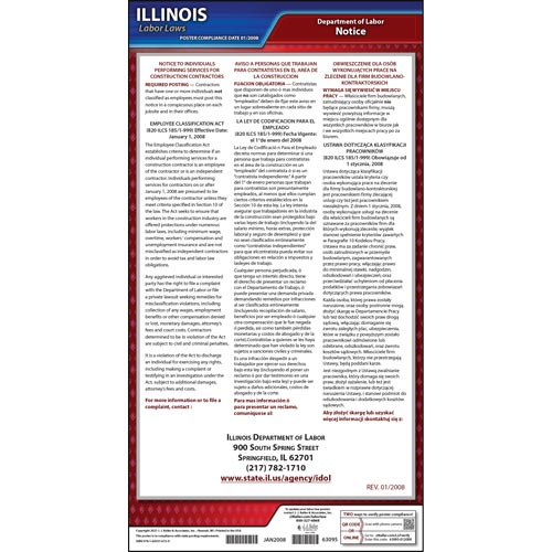 Illinois Employee Classification Act of 2008 Poster (04940)