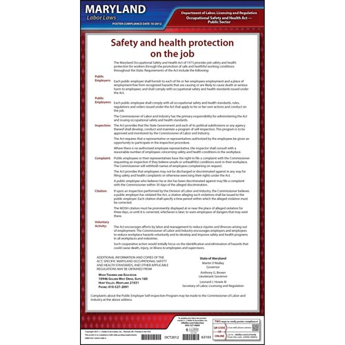 Maryland Workplace Safety & Health for Public Employees Poster (04949)