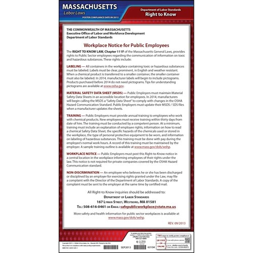 Massachusetts Right to Know Poster (04950)