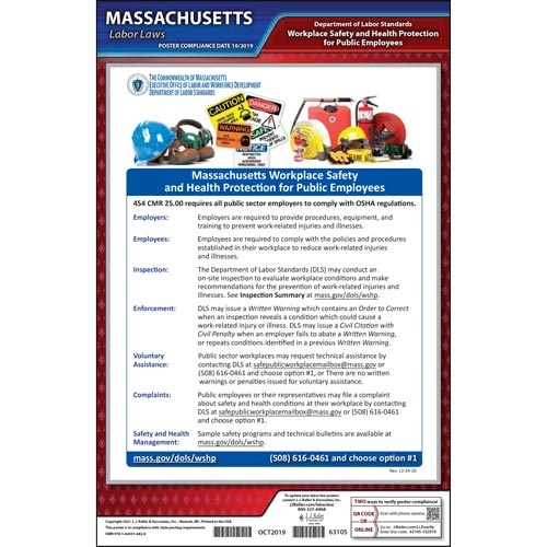 Massachusetts Workplace Safety & Health for Public Employees Poster (011705)