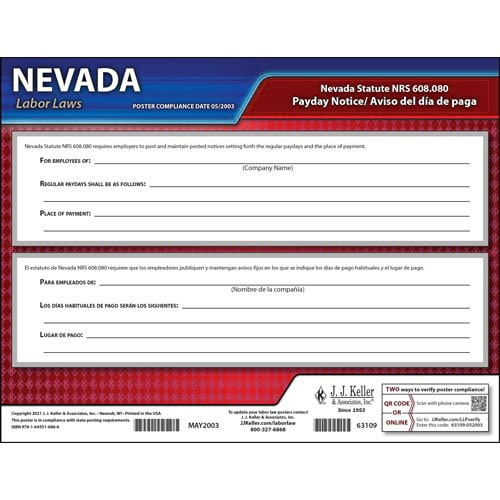 Nevada Payday Notice Poster (08913)