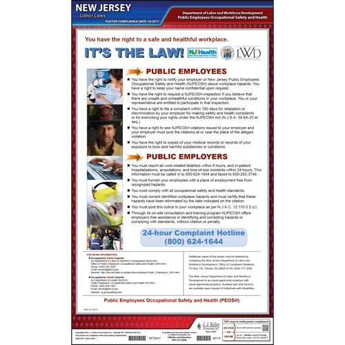 New Jersey Public Employer Occupational Safety & Health Poster (017479)