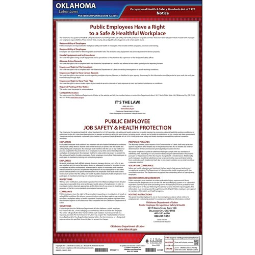Oklahoma Public Employee Job Safety and Health Protection Poster (08914)