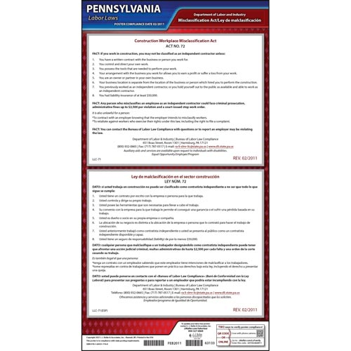 Pennsylvania Construction Workplace Misclassification Act Poster (05500)