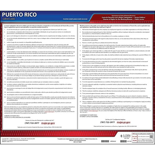 Puerto Rico Working Women's Bill of Rights Law Poster (017270)