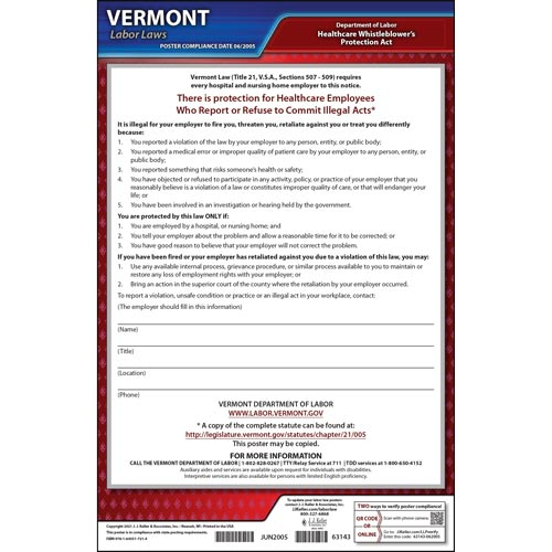 Vermont Healthcare Whistleblower's Protection Act Poster (04978)
