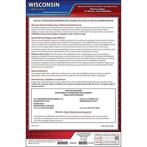 Wisconsin Disabilities Paid at a Special Minimum Wage Poster (04981)