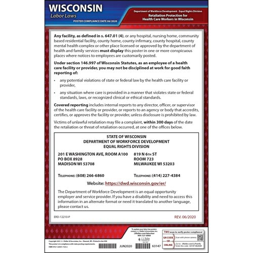Wisconsin Retaliation Protection for Health Care Workers Poster (04982)