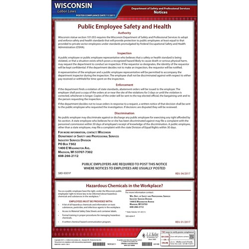 Wisconsin Workplace Safety & Health for Public Employees Poster (04983)