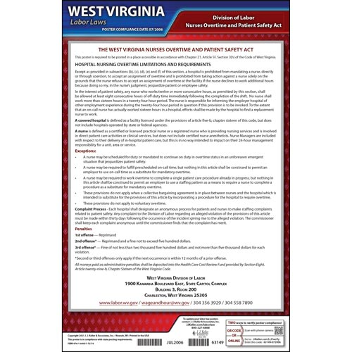 West Virginia Nurses Overtime and Patient Safety Act Poster (013945)