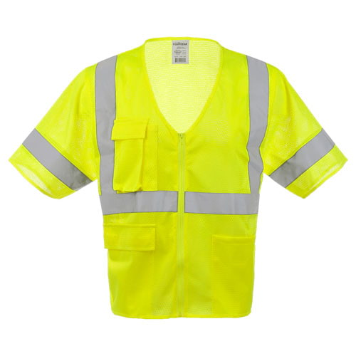 J. J. Keller® SAFEGEAR® Lime Safety Vest Type R Class 3 - Zipper Closure (017908)