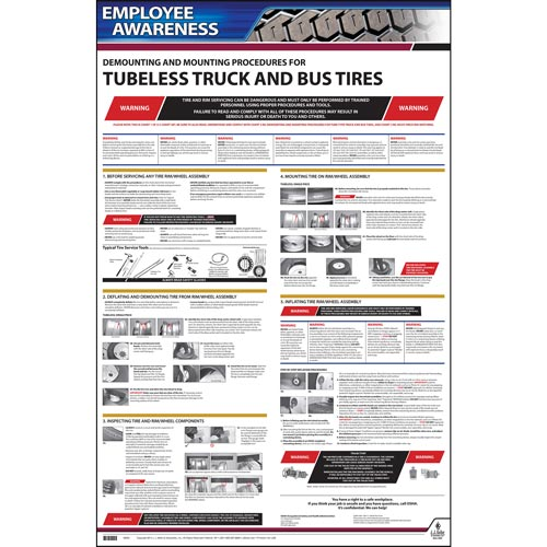 Employee Awareness Poster Demounting and Mounting Procedures for Tubeless Truck Bus Tires OSHA 3401 (06403)