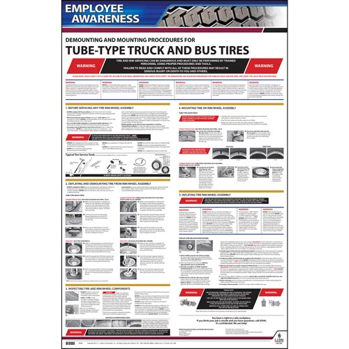 Employee Awareness Poster Demounting and Mounting Procedures for Tube Type Truck Bus Tires OSHA 3402 (06404)