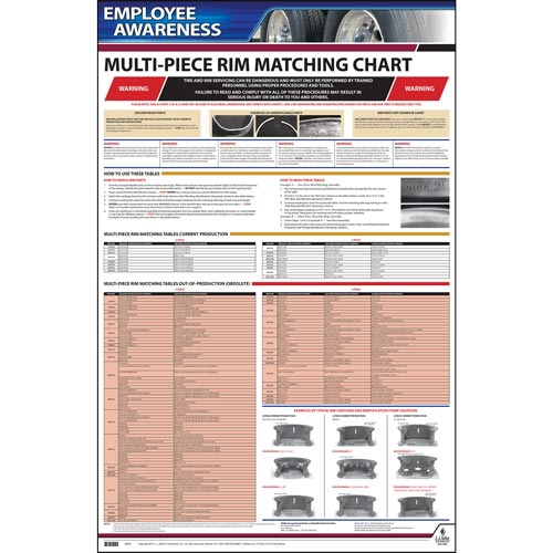 Employee Awareness Poster Multi-Piece Rim-Matching Chart OSHA 3403 (06405)