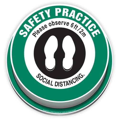 Safety Practice: Please Observe 6ft/2m Social Distancing 3D Floor Decal (017915)