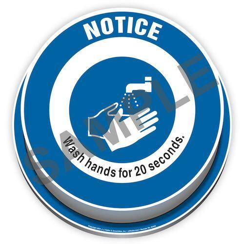 Notice: Wash Hands For 20 Seconds 3D Floor Decal (017916)
