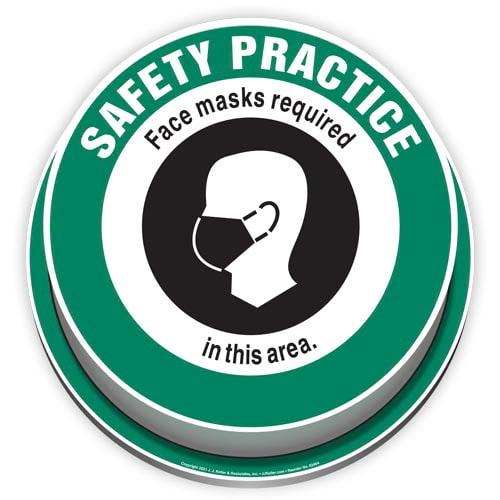 Safety Practice: Face Masks Required In This Area 3D Floor Decal (017917)