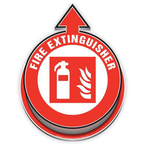 Fire Extinguisher Located Here 3D Floor Decal (017919)