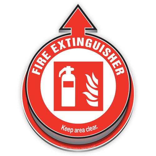 Fire Extinguisher Located Here: Keep Area Clear 3D Floor Decal (017920)