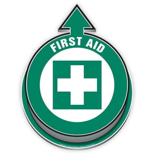 First Aid Located Here 3D Floor Decal (017921)