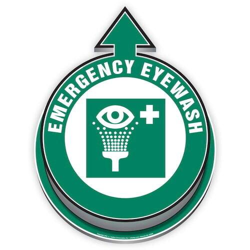 Emergency Eyewash Located Here 3D Floor Decal (017922)