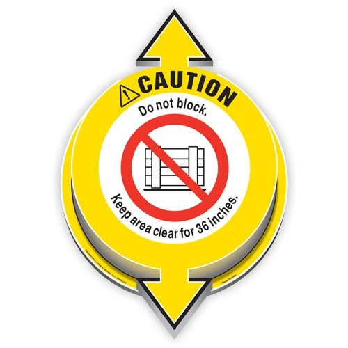 Caution: Do Not Block; Keep Area Clear For 36 Inches 3D Floor Decal (017923)