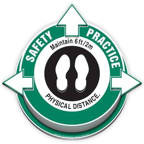 Safety Practice: Maintain 6ft/2m Physical Distance 3D Floor Decal (017918)