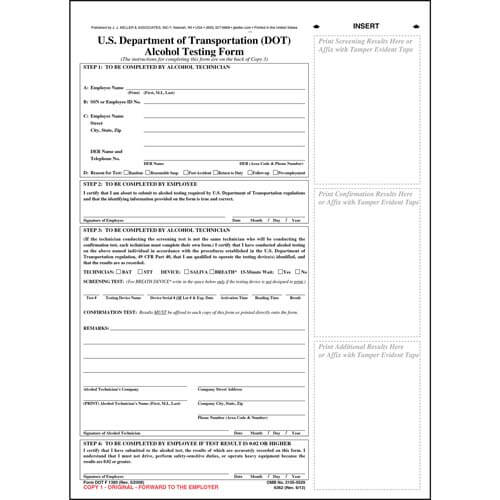 U.S. DOT Alcohol Testing Form w/ 1-Line Street Address (01186)