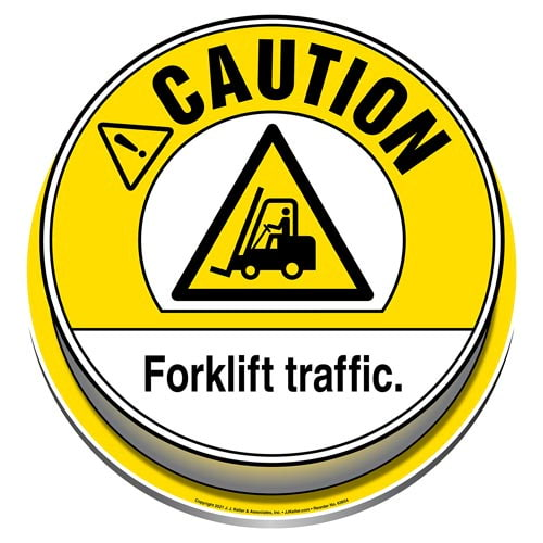 Caution: Forklift Traffic 3D Floor Decal - ANSI (017975)