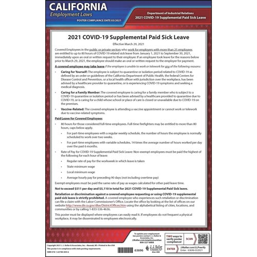 California COVID-19 Supplemental Paid Sick Leave Poster (018004)