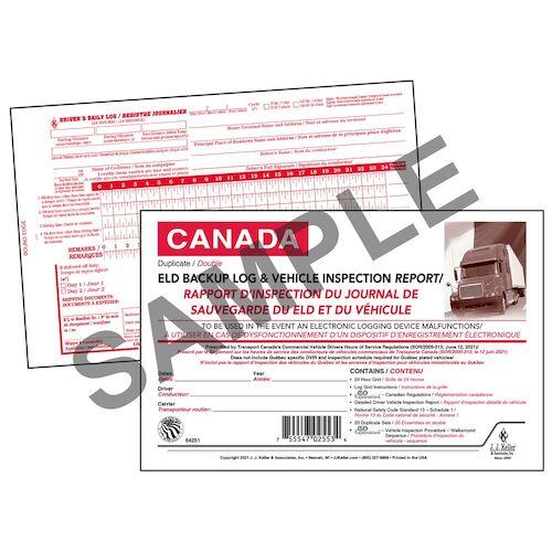 Canadian Bilingual ELD Backup Log with DVIR, 2-Ply, Carbonless - Stock (018154)