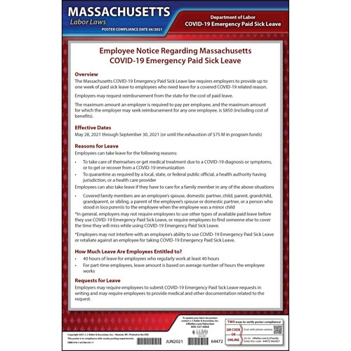 Massachusetts Temporary Emergency Paid Sick Leave COVID-19 Poster (018241)