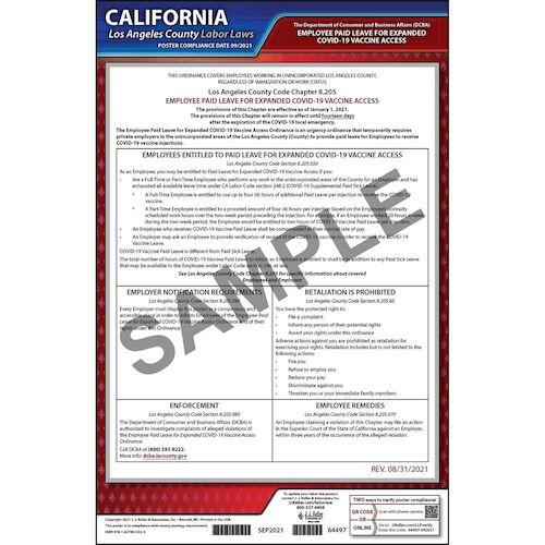California / Los Angeles County Temporary COVID-19 Vaccine Access Poster (018258)