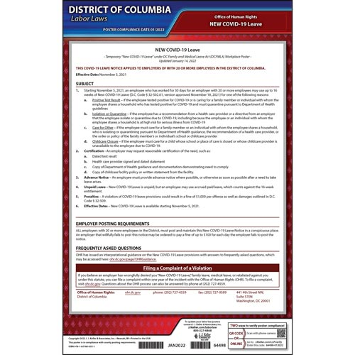 District of Columbia Temporary COVID-19 Leave Poster (018259)