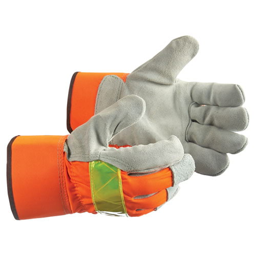 Radians High Visibility Gray Split Cowhide Leather Palm Gloves (018284)