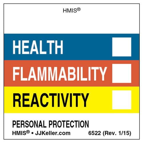Original HMIS® Labels - Without Chronic Hazards Box (00384)