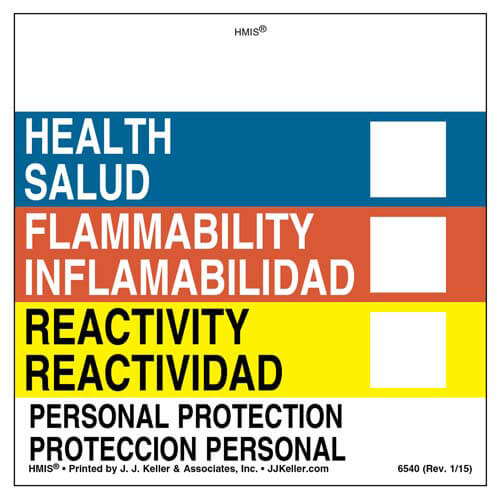 Bilingual Original HMIS® Labels - Without Chronic Hazards Box (00431)