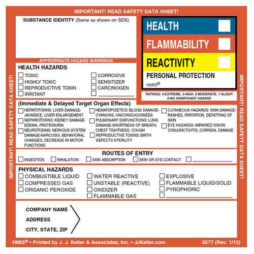 Original HMIS® Hazard Summary Label (01852)