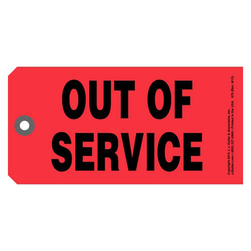 Out Of Service Tag (01641)